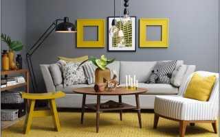 Серые стены и коричневая мебель