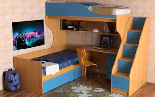 Детская кровать наверху внизу стол