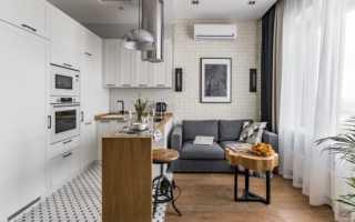 Кухня гостиная с подиумом