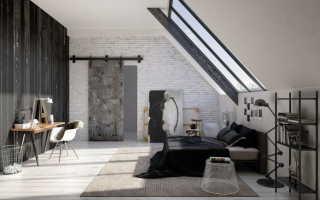 Спальня с кирпичной стеной фото интерьера