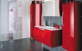 Ванная комната красно черно белая