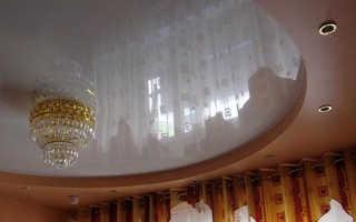 Двухуровневые потолки с подсветкой в зал фото