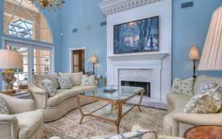 Серо голубые стены в интерьере